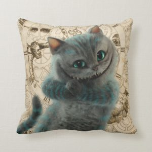 Alice Thru the Looking Glass   Cheshire Cat Grin Throw Pillow