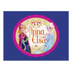 Anna and Elsa   Floral Frame Postcard
