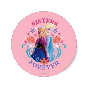 Anna and Elsa | Sisters with Flowers Classic Round Sticker