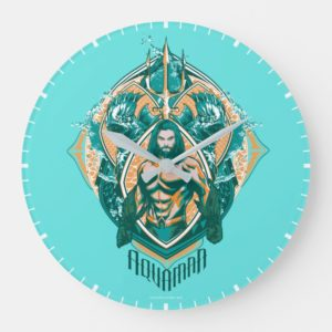 Aquaman   Aquaman & Trenchers Graphic Large Clock
