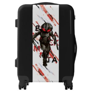 Aquaman   Black Manta Scattered Typography Graphic Luggage