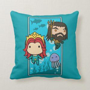 Aquaman   Chibi Mera & Aquaman Undersea Graphic Throw Pillow
