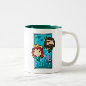 Aquaman | Chibi Mera & Aquaman Undersea Graphic Two-Tone Coffee Mug