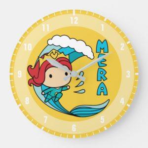 Aquaman | Chibi Mera Riding Wave Graphic Large Clock