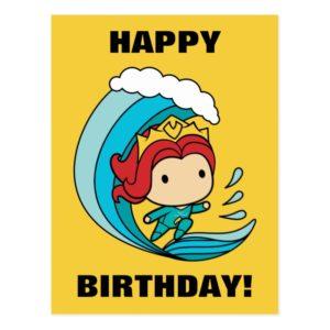 Aquaman | Chibi Mera Riding Wave Graphic Postcard