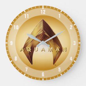 Aquaman | Golden Aquaman Logo Large Clock