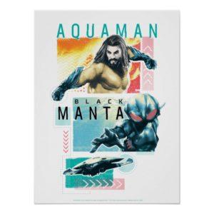 Aquaman | Modernist Aquaman & Black Manta Graphic Poster