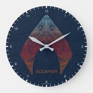 Aquaman   Paisley Aquaman Logo Large Clock