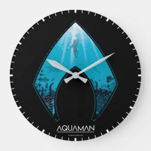 Aquaman   See Through Aquaman Logo Ocean Graphic Large Clock