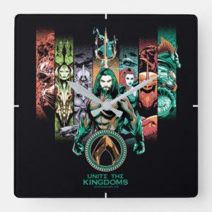 "Aquaman   ""Unite The Kingdoms"" Atlanteans Graphic Square Wall Clock"