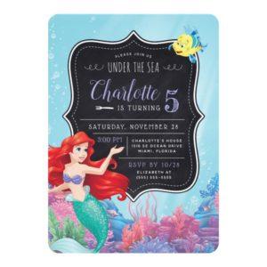 Ariel | The Little Mermaid | Chalkboard Birthday Invitation