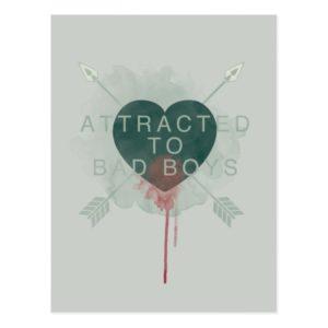 "Arrow | ""Attracted To Bad Boys"" Pierced Heart Postcard"