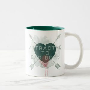 "Arrow | ""Attracted To Bad Boys"" Pierced Heart Two-Tone Coffee Mug"