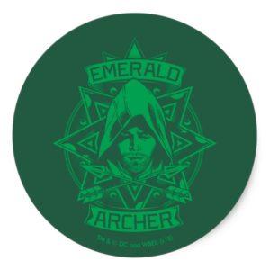 Arrow   Emerald Archer Graphic Classic Round Sticker