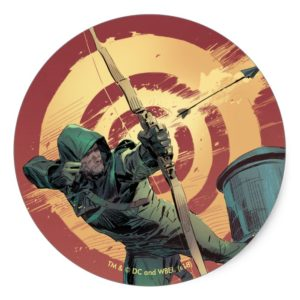 Arrow | Green Arrow Fires From Rooftop Classic Round Sticker