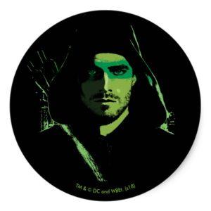 Arrow | Green Arrow Green Stylized Cutout Classic Round Sticker