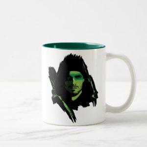 Arrow | Green Arrow Green Stylized Cutout Two-Tone Coffee Mug