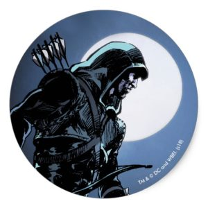 Arrow | Green Arrow In Moonlight Classic Round Sticker