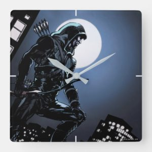 Arrow | Green Arrow In Moonlight Square Wall Clock