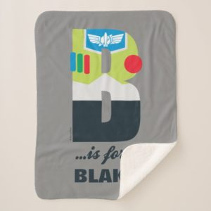 B is for Buzz | Add Your Name Sherpa Blanket