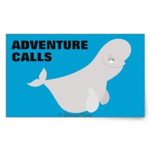Bailey the Beluga Whale Rectangular Sticker