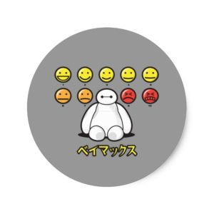 Baymax Emojicons Classic Round Sticker