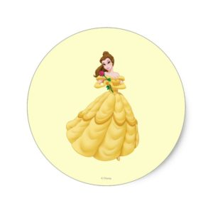 Belle Holding Rose Classic Round Sticker