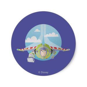 Buzz Lightyear Flying Despeckled Retro Graphic Classic Round Sticker
