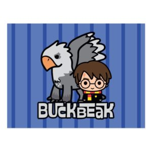 Cartoon Harry Potter and Buckbeak Postcard