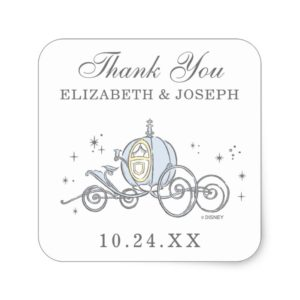 Cinderella Carriage | Fairytale Wedding Thank You Square Sticker