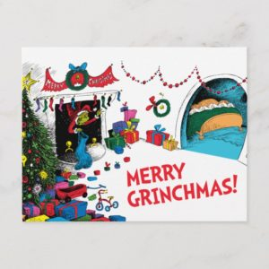 Classic Grinch | The Grinch in Chimney Holiday Postcard