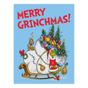 Classic Grinch | The Grinch & Max with Sleigh Postcard