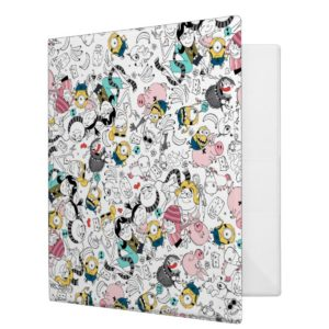 Despicable Me | Colorful Family Doodle Pattern 3 Ring Binder