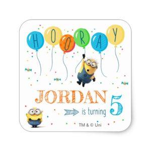 Despicable Me | Minion Balloon Birthday Square Sticker