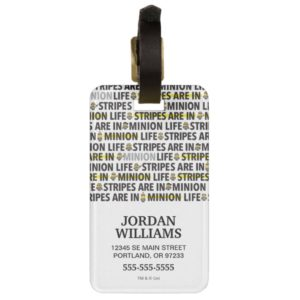 Despicable Me | Minion Life Text Pattern Bag Tag