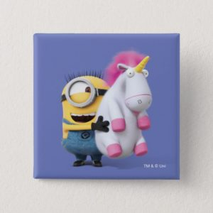 Despicable Me   Minion Stuart & Unicorn Button