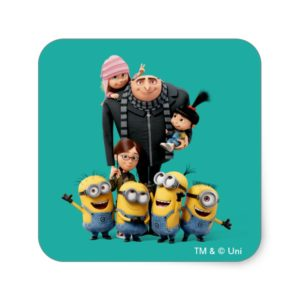 Despicable Me | Minions, Gru, Agnes, Margo & Edith Square Sticker