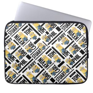 Despicable Me | Minions with Names Pattern Computer Sleeve