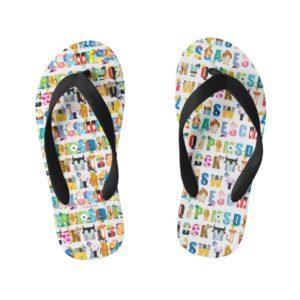 Disney Alphabet Mania Pattern Kid's Flip Flops