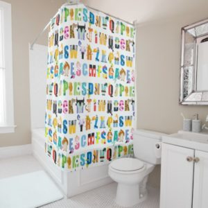 Disney Alphabet Mania Pattern Shower Curtain