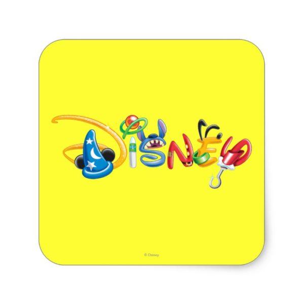 Disney Logo | Boy Characters Square Sticker