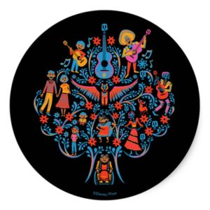 Disney Pixar Coco | Colorful Character Tree Classic Round Sticker