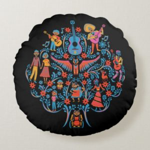 Disney Pixar Coco   Colorful Character Tree Round Pillow