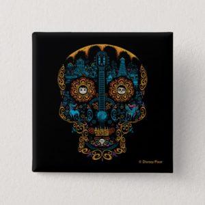 Disney Pixar Coco   Colorful Ornate Skull Guitar Pinback Button