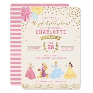 Disney Princess | Floral Gold Confetti Invitation