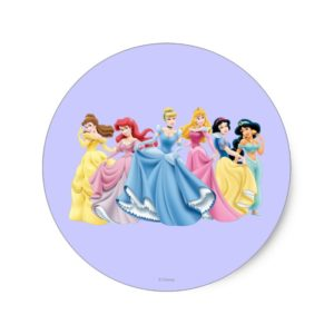 Disney Princess | Holding Dresses Out Classic Round Sticker