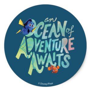 Dory & Nemo | An Ocean of Adventure Awaits Classic Round Sticker