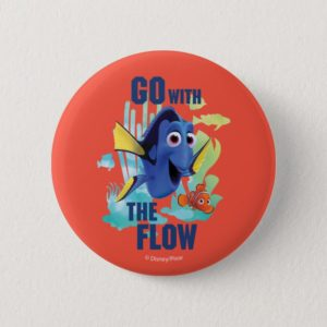 Dory & Nemo | Go with the Flow Watercolor Graphic Button