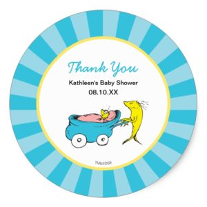 Dr. Seuss   One Fish - Boy Baby Shower Thank You Classic Round Sticker