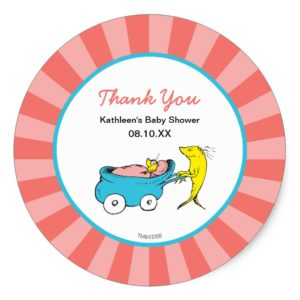 Dr. Seuss   One Fish - Girl Baby Shower Thank You Classic Round Sticker